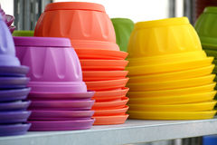 Colored Flower Plant Pots Piled on the Table Stock Image