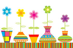 Colored flowerpots set Stock Photo