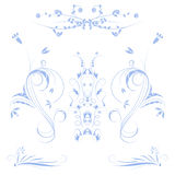 Colored flowers. In blue with white background stock illustration