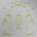 Colored flowers. In green with gray background stock illustration
