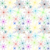 Colored flowers abstract pattern extended Stock Photo