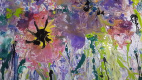 Colored flowers acrylic painting canvas Stock Image