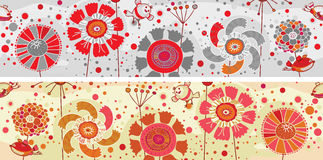 Colored flowers and birds banner Royalty Free Stock Photos