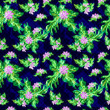 Colored flowers on a dark background. Seamless vector pattern. Stock Images