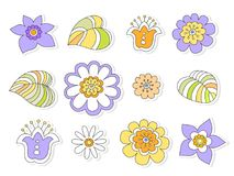 Colored flowers stylized cheerful child`s drawing, seamless vect Royalty Free Stock Photo