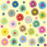 Colored flowers pattern. Abstract vector art illustration; more patterns in my gallery Royalty Free Stock Images