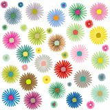 Colored flowers pattern on white. Colored flowers pattern isolated on white background, abstract vector art illustration; more patterns in my gallery Royalty Free Stock Image
