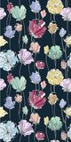 Colored flowers seamless pattern on the dark background. Can be used as background, wallpaper, printed textiles Stock Photo