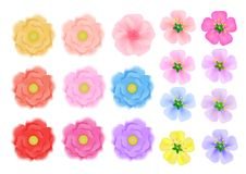 Colored flowers of three kinds on a white background. Objects for vector illustration. Colored flowers of three kinds on a white background. Objects for vector Royalty Free Stock Image