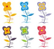 Colored flowers vector. Six flowers in multiple colors Royalty Free Stock Photo