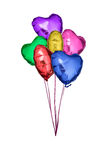 Colored foil balloons with the shape of hearts. Stock Photo