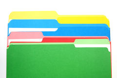 Colored folders four colors column Stock Image