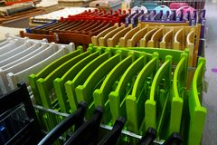 Colored folding textured chairs. In store royalty free stock photo