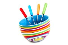 Colored fondue cup Stock Photo