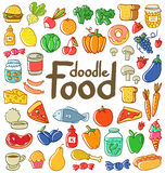 Colored food doodle. Colored doodle food set of 50 various products, fruits, vegetables and much more Stock Photos