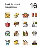 Colored Food, foodstuff, drinks icons for web and mobile design pack 2. Colorful flat vector outline icons Royalty Free Stock Photos