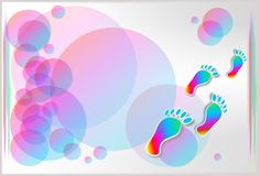 Colored foot steps Stock Photography
