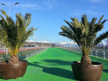 Colored footpaths in the Sochi Olympic Park. And snow capped mountains on the horizon Royalty Free Stock Photography