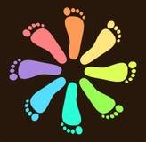 Colored Footprint Design Stock Photo