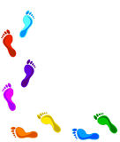 Colored footprints Royalty Free Stock Photography