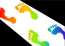 Colored footsteps in light. Vector of colored footsteps in light Royalty Free Stock Photo