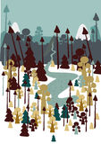 Colored  forest against the sky  and mountains. Illustration with the forest against the sky and mountains Royalty Free Stock Photography