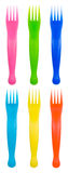 Colored forks Stock Photos