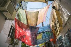 Colored foulards hanging Royalty Free Stock Photos