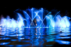Colored fountain in night Stock Photo
