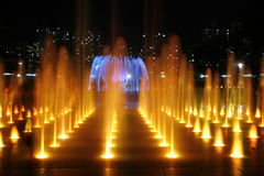 Colored Fountain At Night royalty free stock images