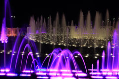 Colored fountain. At night. Moscow Stock Photo