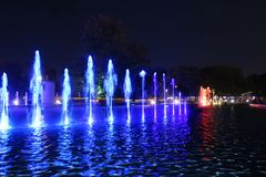 Colored fountain in Warsaw royalty free stock images