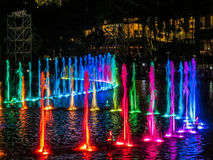 Colored fountains by night Royalty Free Stock Photos