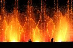 Colored fountains. Night water beautiful ravenna italia Stock Photos