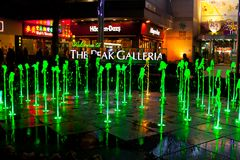 Colored fountains. At the Peak Victoria, Hong Kong. Photo taken on: January, 11th, 2014 Royalty Free Stock Image