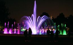 Colored fountains in Warsaw Stock Photography