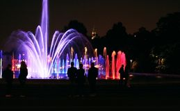 Colored fountains in Warsaw Royalty Free Stock Image