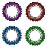 Colored four mandalas set Royalty Free Stock Photography