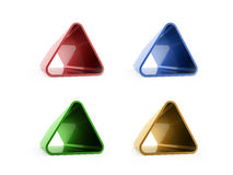 Colored four triangles isolated on white Royalty Free Stock Photos