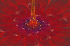 Colored fractal flower with yellow centre Stock Photography