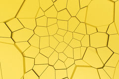 Colored fractured surface. Abstract 3d background with extruded polygons. 3D render illustration Stock Images