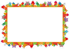 Colored frame for children. Colored frame for children with birds and autumn leaves Stock Photos