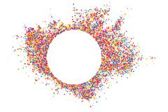 Colored frame isolated on white background. Colorful explosion of  confetti.  Flat design element. Vector illustration,eps 10 Stock Photography
