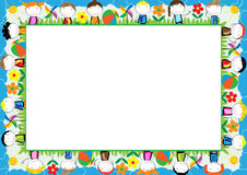 Colored frame for kids. With happy boys and girls Royalty Free Stock Images