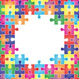 Colored frame made up of pieces puzzle. Vector Royalty Free Stock Images