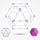 Colored frames of connected lines and dots. Cuboctahedron geometric element. The concept for the theme of science and education. Vector illustration Royalty Free Illustration