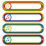 Colored frames. Four colored frames for any text and music icon Royalty Free Stock Photos