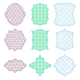9 colored frames.Vector illustration. 9 colored frames with geometric pattern Stock Illustration