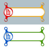 Colored frames. Vector abstract colored frame and document icon and watches Royalty Free Stock Photo