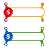 Colored frames. Vector abstract colored frame and dollar symbol stock illustration
